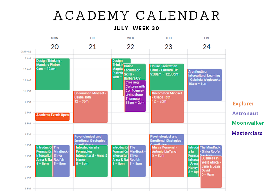 Academy Calendar Week 1