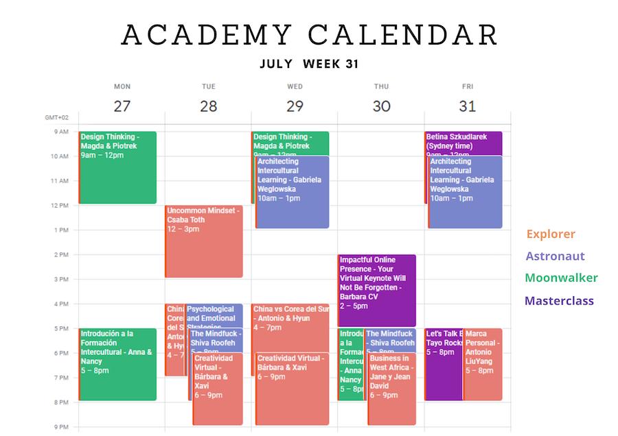 Academy Calendar Week 2